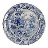 Blue and White Transferware Plate from the Oriental Sports Series, circa 1820