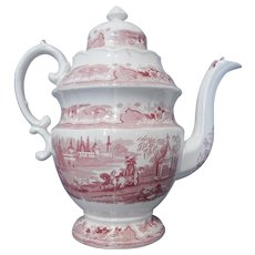 Large Red and White Transferware Coffee Pot in the Damascus Pattern