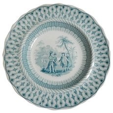 Historical Staffordshire Soup Plate, W. Penns Treaty, circa 1845