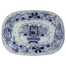 British 19th Century Flow Blue Transferware Drainer, Delft Type Pattern