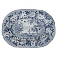 Blue and White Well and Tree Transferware Platter by Riley's with Camel and Pyramids