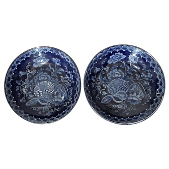 A Pair of Dark Blue Transferware Small Bowls or Saucers