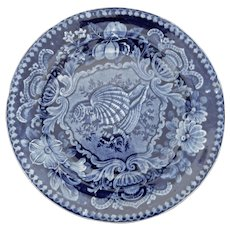 Blue and White Transferware Plate with Shell Pattern