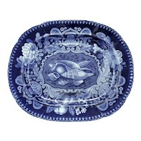 Rare Dark Blue Transferware Platter with Sea Shells