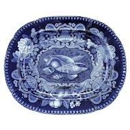 Rare Dark Blue Transferware Platter with Sea Shells