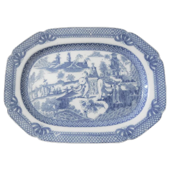 Blue and White Transferware Platter with an Oriental Scene