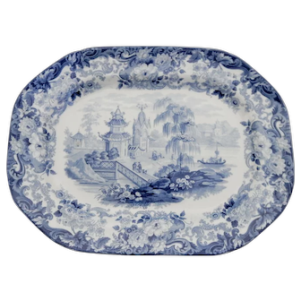 Wedgwood Blue and White Transferware Platter with an Oriental Scene