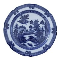 An Early Blue and White Transferware Plate in the Boy on Buffalo Pattern