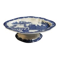 Pearlware Blue and White Transferware Compote with a Chinoiserie Pattern, circa 1810