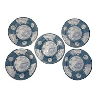 Royal Worcester Blue and White Transferware Plates with Oriental Scene