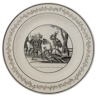 Early French Faience Transferware Plate Depicting St Louis