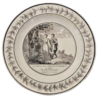 A French Faience Transferware plate with a Classical Scene