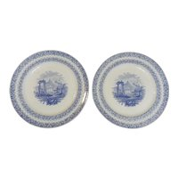A Pair of Blue and White Transferware Plates in the Archipelago Pattern, circa 1840