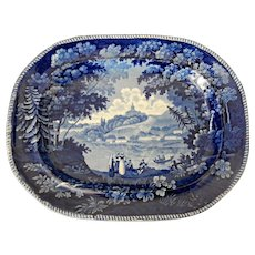 """Large Blue & White Transferware Platter """"Italian Scenery Turin"""" by Enoch Wood"""