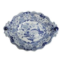 A Blue Pheasants Pattern Transferware Dessert Bowl, Circa 1825