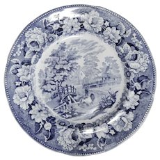 Swansea Pottery Blue and White Transferware Plate with Rural Scene, circa 1840