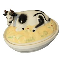 Rare Staffordshire Butter Dish with Cow on Lid