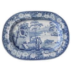 Blue and White Transferware Platter in the Philosopher Pattern