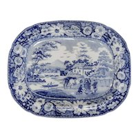 Blue and White Transferware Platter in the Native Pattern, circa 1815