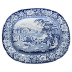 Blue and White Staffordshire Transferware Platter by Riley's