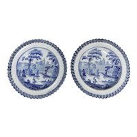 A Pair of Small Transferware Plates in the Wild Rose Pattern with Reticulated Borders, Circa 1835