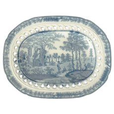 Small Davenport Pearlware Platter with Estate Scene and a Reticulated Border