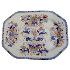 A Large Spode Hand Colored Stone China Transferware Platter, Circa 1820