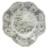 Green and White Transferware Aesops Fables Pattern Plate by Spode