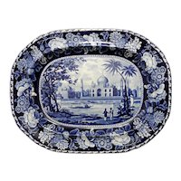 A Large Dark Blue and White Transferware Platter in the Tomb of the Emperor Shah Jehan Pattern, circa 1825