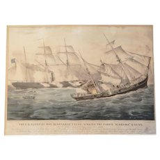 "Currier and Ives Civil War Print: The U.S. Sloop of War ""Kearsarge"" 7 Guns, Sinking the Pirate ""Alabama"" 8 Guns"