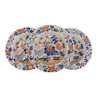 Three Mason's Ironstone Soup Plates in the Japan Pattern, circa 1820