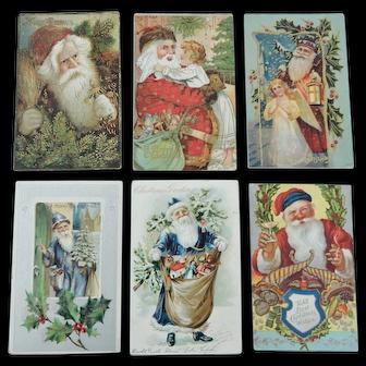 Six Santa Claus Themed Postcards