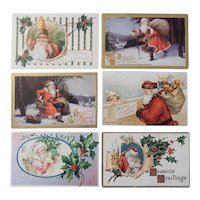 Six Vintage/Antique Christmas Postcards Featuring Santa Claus