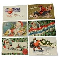 Six Vintage/Antique Christmas Postcards Featuring Santa Claus