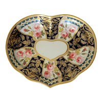 Derby Porcelain Heart Shaped Dish with Roses