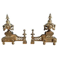 A Large Pair of French 19th Century Louis XVI Style Bronze Chenets