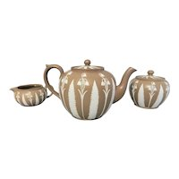 An Unusual Provincial Jasperware Three Piece Tea Set