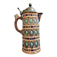 Large Wedgwood Majolica Jug with Pewter Lid, circa 1870