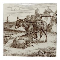 """Mintons Brown and White Transferware Tile from the """"Animals on the Farm"""" Series By William Wise, 19th Century"""