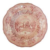 """A Red and White Transferware Soup Plate in the """"Millennium"""" Pattern, circa 1835"""