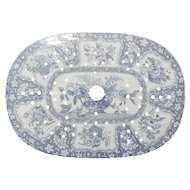 Blue and White Spode Transferware Flower Basket Pattern Drainer