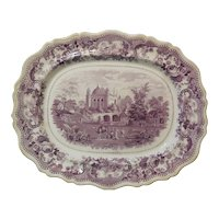 Large Mulberry Transferware Platter in the Indian Temples Pattern