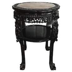 Large 19th C Carved Chinese Marble Top Hardwood Table Stand
