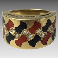 18K Enamel and Diamond Modernist Ring