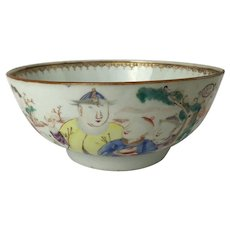 Chinese Export Porcelain Mandarin Bowl with Figures Qianlong (1736-1795)