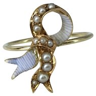 14k Enameled Ribbon or Bow Antique Stick Pin Conversion Ring