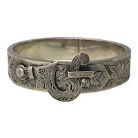 Late Victorian Sterling Silver Buckle Bangle with Etched Designs
