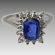 Vintage 14K Natural 1.63 ct Ceylon Sapphire and Diamond Halo Ring