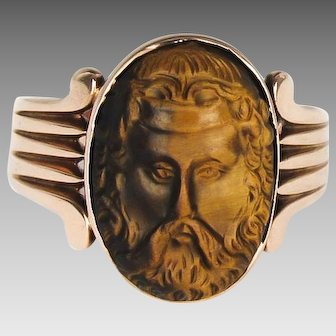 Outstanding 14K Rose Gold Tigers Eye Cameo Ring - Zeus