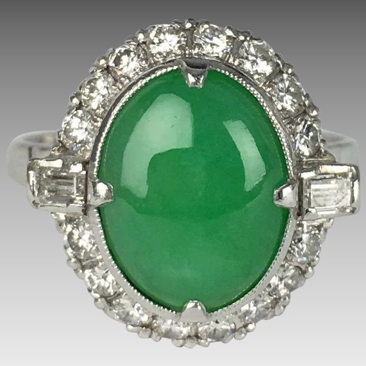 and gold in ring vintage jade cluster diamond